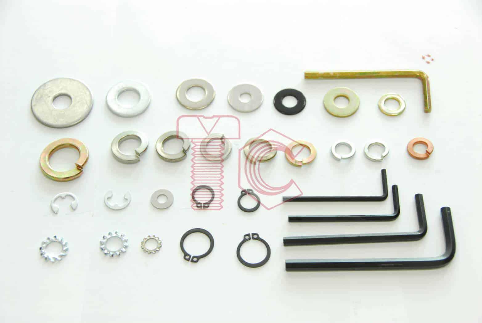 แหวน (Washer) แหวนอีแปะ,แหวนสปริง,แหวนล็อคนอก,แหวนล็อคใน,แหวนจักรใน และอื่น ๆ